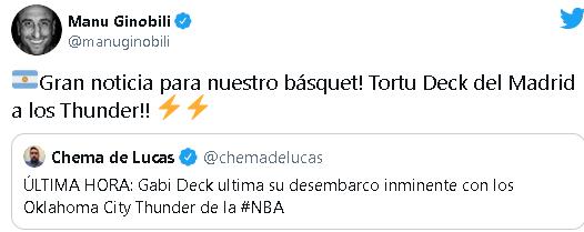 Ginóbili saluda la llegada de Deck a la NBA