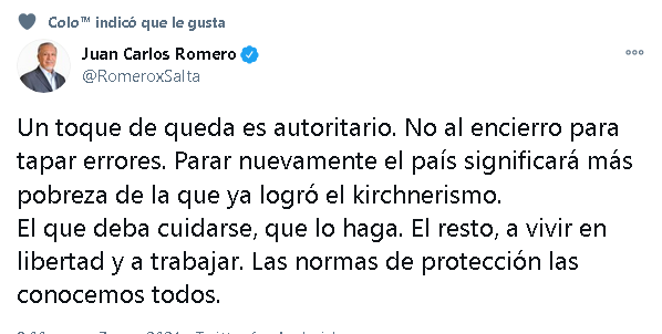 Romero con los anticuarentena