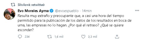 BOLIVIA Evo cuestiona información sobre resultado