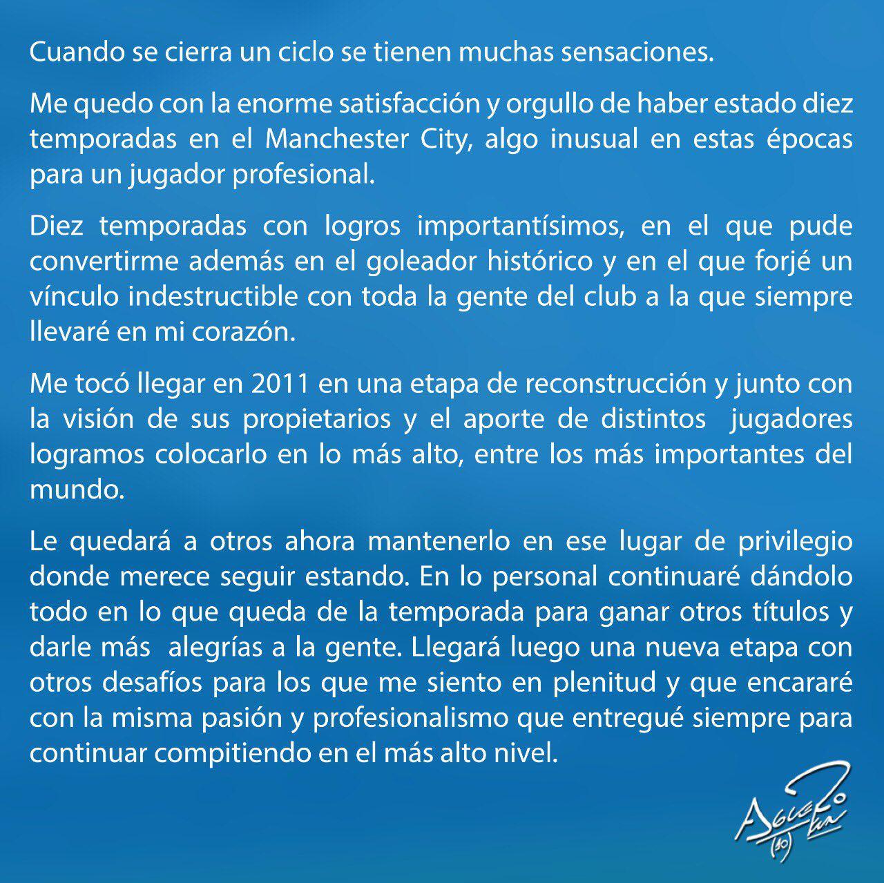 KUN AGUERO DEJA EL MANCHESTER CITY