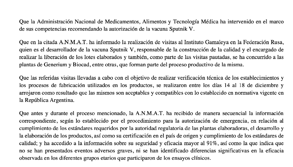 ANMAT SOBR LA SPUTNIK V