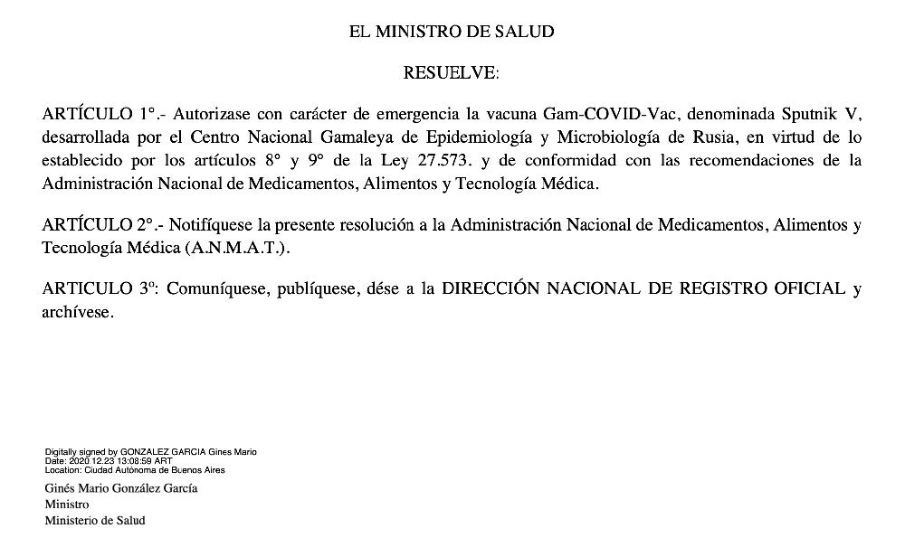 RESOLUCIÓN DEL MINISTERIO DE SALUD SOBRE LA VACUNA SPUTNIK V